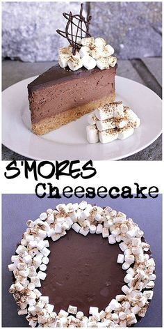 S'mores Cheesecake. Bring in the summer with this s'mores cheesecake! Graham crumb crust, chocolate cheesecake with ganache topping, finished off with toasted marshmallows. No Bake Snacks, No Bake Desserts, Easy Desserts, Delicious Desserts, Dessert Recipes, Yummy Food, Awesome Desserts, Creative Desserts, Health Desserts
