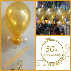 """11"""" 50th anniversary topiary  Designed for one of our customers    www.celebrationsnsw.com #partyshop #anniversary #decorations #balloons"""