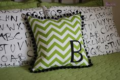 BeingBrook: Zig Zag Monogram Pillow {Boys Skateboard Bedroom}