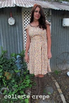 Sew Country Chick: fashion sewing and DIY: Friday's frock: another Collette Crepe with vintage fall fabric