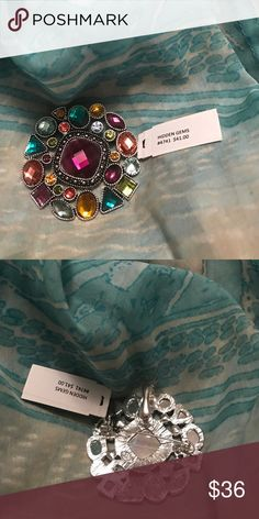 """""""Hidden Gems"""" pin/necklace slide Absolutely stunning with multiple possibilities!  Can be worn on a necklace chain or as a pin by itself! Premier Designs Jewelry"""