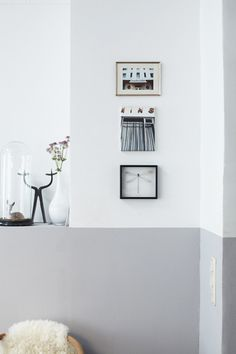 Two Tone Walls Adding Height Space Half Painted Walls Light Neutral Grey Kitchen Use Windowsill As Guide For Division Vintage Home Decor, Half Painted Walls, Home Decor Inspiration, Home And Living, Home, Interior, Two Tone Walls, Home Decor, Floor Design