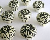 FUNKY ZEBRA zany knobs handpainted whimsical pulls