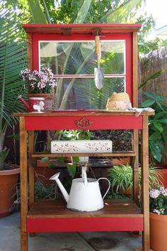 Vintage 2-Pane Window Potting Bench/Table - SOLD