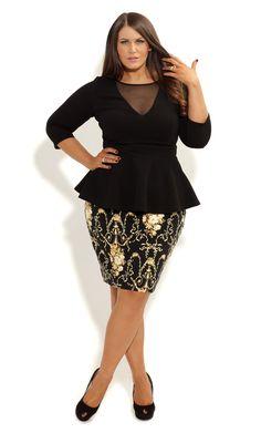 City Chic - BAROQUE PRINT SKIRT - Women's plus size fashion
