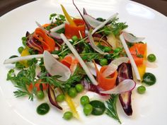 Spring Salad with Pea Shoots, Carrots and Radish.