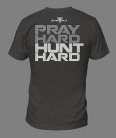 Our Men's shirts at BOWADX are all designed with the Bow Hunter or Bow enthusiast in mind. Our shirts come in either a 100% cotton shirt or a 60/40 blend(Premium Cut) and have all been meticulously thought out to please the bow addict in you.Pray Hard Hunt Hard- If you believe in the power of prayer. This shirt is for you! or (Charcoal grey shirt with white and light grey coloring)**Premium Cut shirts hug the arms just and chest just a small tad more. If you are on the fe...