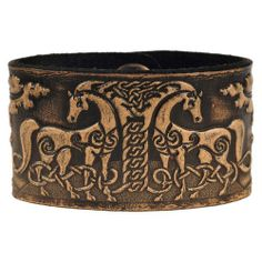 Leather Bracelet Embossed Celtic Horses Antique-black with Snap Fasteners (Nickel Free) (19 Centimeters) Celtic-Craft 'Leather Bracelets'. $25.95. Color: antique-black. Snap Fastener: Brass, Finish antique-nickel (nickel free). Width: 4 cm