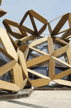 Miralles Tagliabue EMBT, Roland Halbe, Marcela Grassi · Copagri Pavilion 'Love IT' - Expo Milano 2015 Parametric Architecture, Parametric Design, Futuristic Architecture, Facade Architecture, Contemporary Architecture, Expo Milano 2015, Expo 2015, Pavilion Design, Design Projects