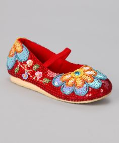 Look at this Red & Yellow Sunflower Flat on #zulily today!
