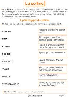 La Collina: Schede Didattiche per la Scuola Primaria | PianetaBambini.it Virginia, New Years Eve Party, Writing Tips, Studio, Improve Yourself, Language, Georgia, Desktop, Home