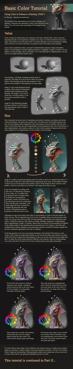 Basic Color Tutorial - Part 1 by Zhrayde on DeviantART Drawing Techniques, Drawing Tips, Painting & Drawing, Digital Art Tutorial, Digital Painting Tutorials, Design Tutorials, Art Tutorials, Drawing Tutorials, In Loco