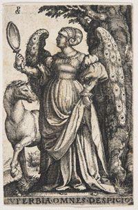 "Pride (Superbia); Georg Pencz (German, c. 1500-1550); Engraving; Sheet: 3-1/4"" x 2-1/16"" (8.3 x 5.3 cm);   Philadelphia Museum of Art"