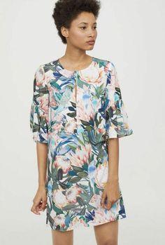 1194d9a4279a $29 NWT H&M Flounce Floral Sleeve Viscose Dress US 4 #HM #ALineDress #Casual