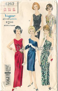 Vogue+4267+Vintage+1960s+Draped+One+Shoulder+by+DejaVuPatterns,+$60.00
