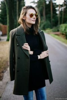 Color Crush: Glorious Green {A Classic Hunter Green Peacoat via Polienne