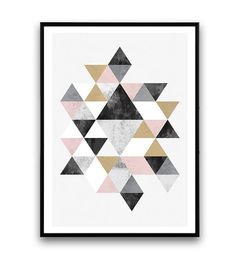 "$27.59 11""x14"" Watercolour abstract, wall print, nordic design, minimal art, office decor, triangle decal, scandinavian print, gold and black, geometric art"