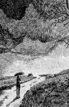 Rain illustration Black rain Black ink drawing by NicolasJolly