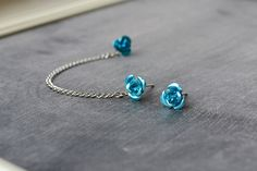 Rose Single Silver Chain Double Pierce Cartilage Earring (Pair) - SELECT COLOR. $9.00, via Etsy.