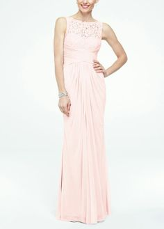 David's Bridal Sleeveless Long Mesh Dress with Corded Lace Style F15749 $169.00