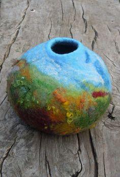 Felted Vessel, Tropical Landscape, Handmade Merino Wool Felt.mbarts via Etsy.