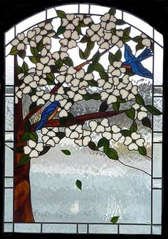 Blaylock BlueBirds and Dogwood- Carolina Stained Glass, Inc. OMG my favorite bird and my favorite flower in one panel!