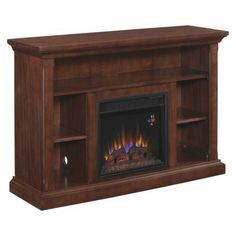 Electric Fireplace with shelves - Espresso