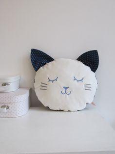 White Cat cushion Laura Jane Paris