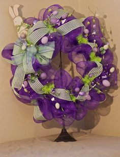 Easter Bunny Wreath created by Rhonda Emanuel TheCenterpieceLady Etsy Shop!