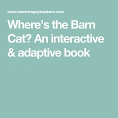 Where's the Barn Cat? An interactive & adaptive book