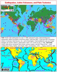 Plate tectonics this looks like a great example of the plates earthquakes volcanoes and plate tectonics world map gumiabroncs Choice Image