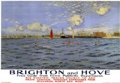 Brighton and Hove, Sussex. SR Vintage Travel Poster by Charles Pears. 1935 Posters Uk, Train Posters, Railway Posters, Online Posters, England Travel Poster, British Travel, Travel Uk, National Railway Museum, London Poster