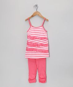 Take a look at this Pink Stripe Lace Tunic & Leggings - Toddler & Girls by Girls Luv Pink on #zulily today!