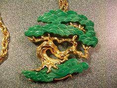 Hattie Carnegie Faux Jade Bonsai Tree Brooch Pendant with Goldtone Chain | eBay