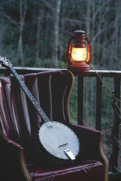lantern, mountain, dream, instrument, banjo