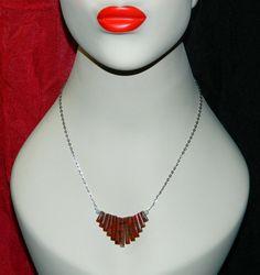 Necklace Poppy Jasper Amethyst Silver Chain by TheCraftyPandaGirl, $35.81