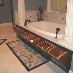 Pretty awesome.. Master bathroom garden tub hidden storage. Pure genius! Usually wasted space!