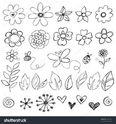 Sketchy Doodle Flowers Vector Illustration - 32817067 : Shutterstock