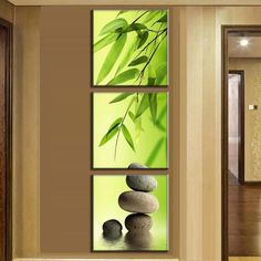 3 Pieces/set Still Life Printed Canvas Painting Bamboo and Stone vertical forms Wall Pictures for Living Room Unframed | Octo Treasure
