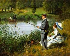 Walter Dendy Sadler The Fishing Party (1874), via Victorian British Painting