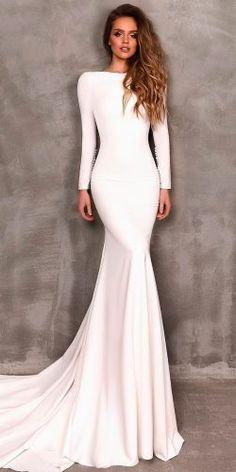 simple wedding dresses sheath with long sleeves high neckline eva lendel