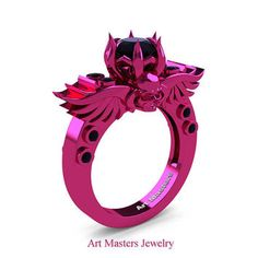 Art Masters Classic Winged Skull 14K Fuchsia Pink Gold 1.0 Ct Black Diamond Solitaire Engagement Ring R613-14KPGBD