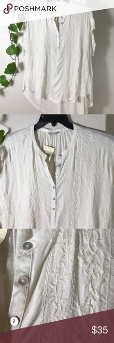 "Lucky Brand - Embroidered Top (Whisper White) Lucky Brand - Embroidered Top (Whisper White) Women's Clothing. 22"" across armpit to armpit 32"" long. Soft fabric. 100% Viscose. Embroidery 100% Polyester. Lucky Brand Tops Blouses"