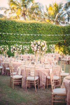 Cafe lights are a special touch to a beautiful pink and white outdoor reception   Matt Steeves Photography   Hyatt Regency Coconut Point   Along Came Stephanie   Florida weddings