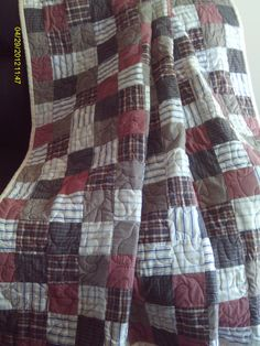 """Bereavement Patchwork Quilt : Made from 6 mens shirts, size large.  Approximately 60"""" X 80"""" contact info: quilt128@yahoo.com"""