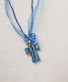 Look what I found on #zulily! Blue Living Water Cross Pendant Necklace by Living Water #zulilyfinds