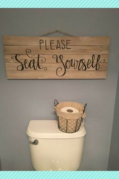 Cute Powder Room Sign Please Seat Yourself