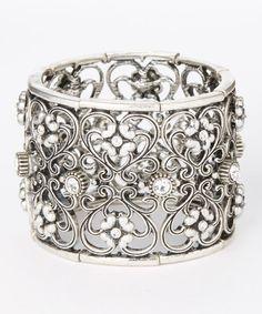 Silver Rhinestone Stretch Bracelet  #Silver #Jewelry