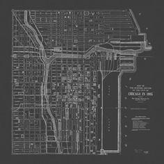 ANTIQUE CHICAGO MAP Blueprint Map Print by EncorePrintSociety