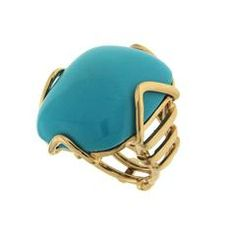 Cushion Turquoise Ring in gold